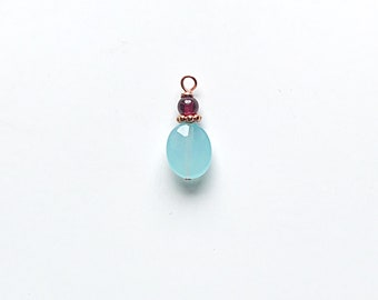 Faceted Aqua Glass Oval and Garnet Charm on Copper