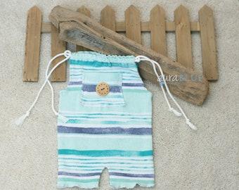 Newborn BOYS, Blue Aqua, Strip Cotton Romper, Photo Props, Photography, RTS,