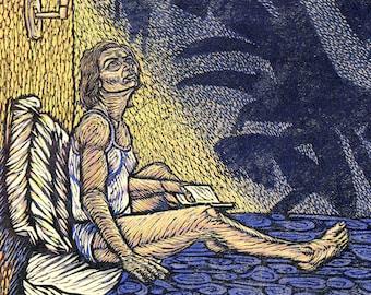 Nightfall (Woodblock Print) Framed