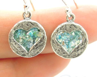 Ancient Glass Sterling Silver Made in Israeli Heart Shaped Silver Earrings with Roman Glass Handmade Valentine's day Gift (rg e140107)