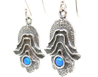 Gemstone Earrings, Hamsa Hand Earrings With Opal, 925 Sterling Silver, Handmade, Gift, Hadas 1951, Silver Opal Earrings  (406314bop)