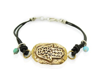 Leather bracelet with a brass Hamsa hand, Ancient Hebrew script and mosaic opal beads
