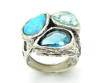 Antique Roman Glass, Gemstone Sterling Silver Ring, Hadas1951, Opal Blue Quartz and Roman Glass Silver Ring, Israeli Jewelry, Gift (190082)