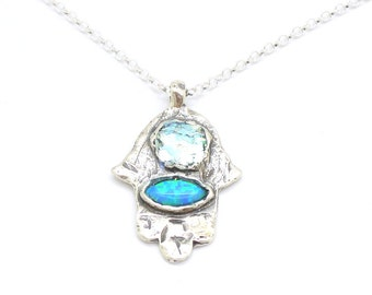 Silver Hamsa necklace with an opal & roman glass