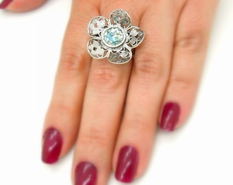 Filigree flower silver sterling ring with roman glass (190013)