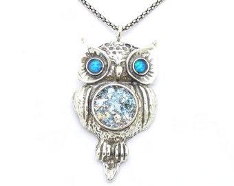Roman Glass Jewelry, Hadas1951, 925 Sterling Silver, Israeli Jewelry, Silver Pendant a Owl with Opal & Roman Glass, Handmade, Gift  (508012)