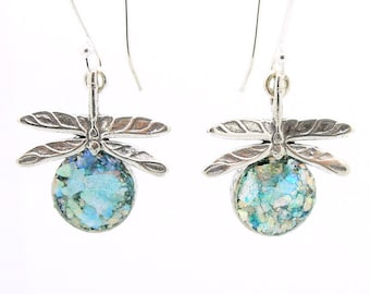Silver earrings, Roman glass jewelry, Sterling silver 925, Gift, Dragonfly Earrings, Hadas1951, Israel jewelry, Silver Earrings   (as421614)
