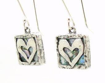 Heart earrings, hammered silver with roman glass