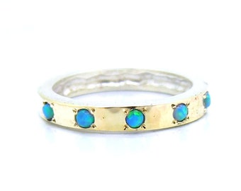 Hammered sterling silver & gold opal ring ( I R308