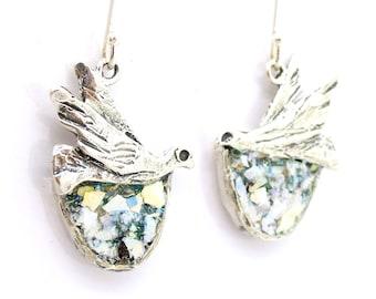 Roman Glass Jewelry, Hadas1951, 925 Sterling Silver, Israeli Jewelry, Earrings Doves with Roman Glass, Silver Earrings, Handmade  (403313)