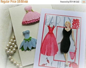 SALE 30% OFF Glamour Girl Greeting Card with Soap Dresses