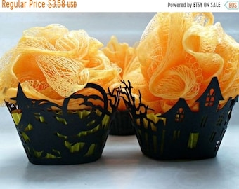 SALE 30% OFF Halloween Cupcake Soap with Bath Pouf