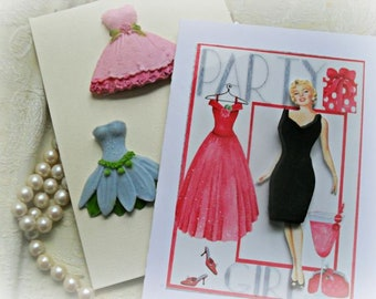 Glamour Girl Greeting Card with Soap Dresses