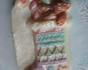 SALE 30% OFF Hand Painted Soap Christmas Stocking Soap