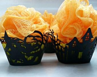 Halloween Cupcake Soap with Bath Pouf