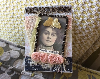 Victorian Birthday Card - Vintage-style Cad - Vintage Lady Card