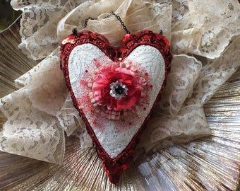 Valentine Heart Hanging Pillow - Handmade Heart Pillow - Valentine Pillow