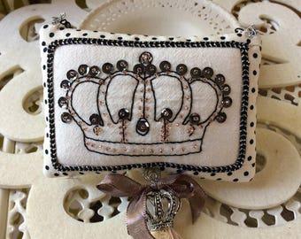Embroidered Pillow - Novelty Pillow - Crown Pillow - Polka Dot Pillow