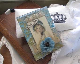 Handmade Thank You Card - Gratitude Card - Victorian Girl Card