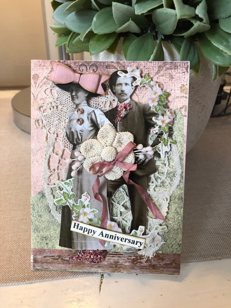 Handmade Anniversary Card Vintage-style Anniversary Card Happy Anniversary Card Old Fashioned Look Anniversary Card