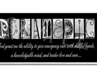 PARAMEDIC  EMT Plaque black & white letter alphabet art