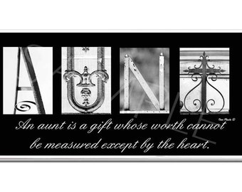 AUNT  Inspirational   Plaque black & white letter art