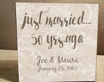 """Just married... 50 yrs. ago  Anniversary, Personalized, Paisley Burlap  Background 8""""x8"""" Ceramic Tile , easel attached on back"""