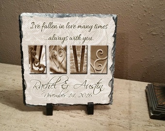 """Love Wedding Personalized Letter Art """"I've fallen in love many time...always with you."""" 8""""x8"""" slate"""