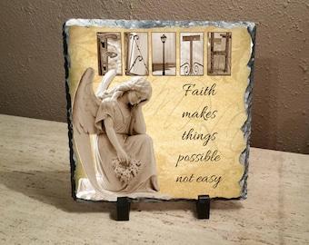 "Faith Angel Letter Art ""Faith makes things possible not easy""  8""x8"" slate"
