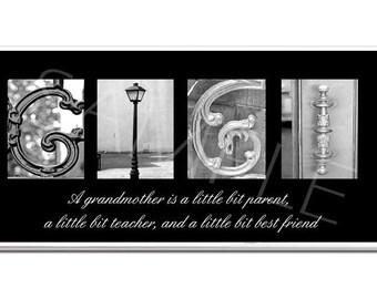 GIGI   Inspirational Plaque black & white letter art