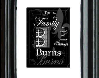 Personalized Initial and Name Family Blessings Print 8x10 print 11 x 14 mat