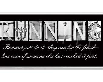 RUNNING  Inspirational Plaque black & white letter art