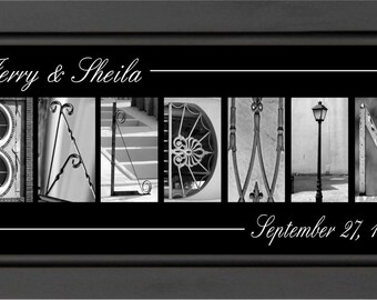 10X26 7 or more LETTERS Personalized Wedding  Name Print Architectural Letter Collage