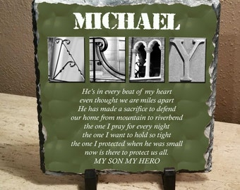 """ARMY  Son or Daughter Hero 8""""x8"""" slate"""