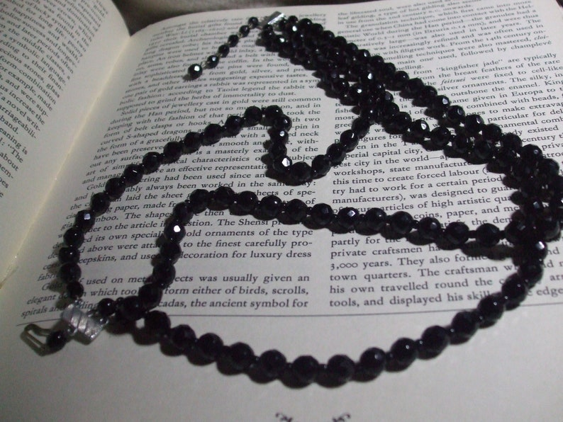 Vintage Victorian Style Triple Strand French Jet Glass Beaded Mourning Momenti Mori Choker  Black Necklace