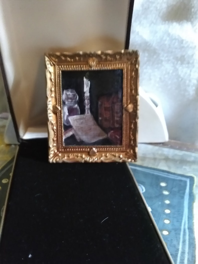 OOAK Artesian Folk Art Still LIfe Original  Combination Oil Painting Miniature Dollhouse  Painting Art