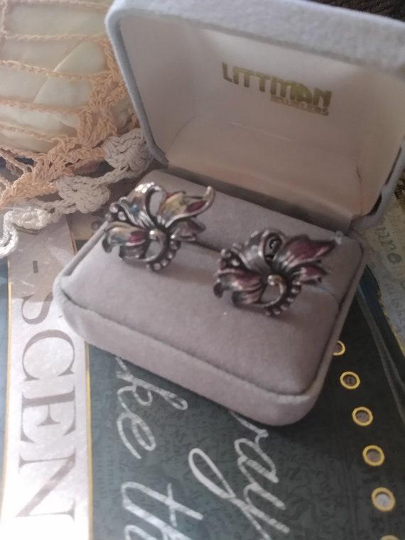 Artistic Unique Vintage Art Nouveau Floral Flower Style Coin 800 Screw Back All Occasion Dainty Earrings