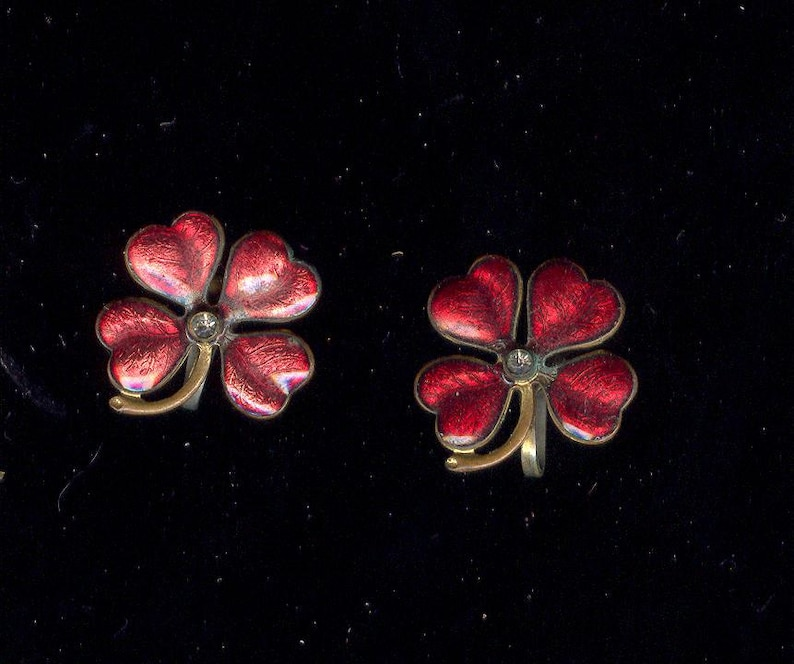 Burgandy Guilloche Enamel Early Vintage Earrings