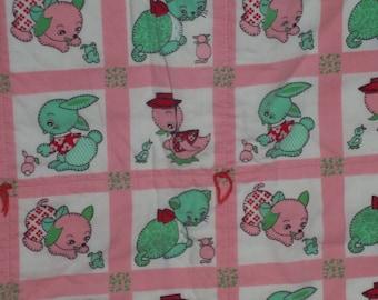 Vintage Childs Quilt pink Cats Ducks Bunnies  Dogs Handmade mint