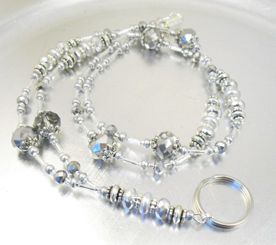 Id Card Beads: Beaded Lanyard Silver And Grey Sparkly Beaded ID Badge