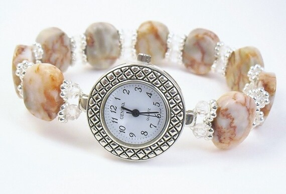 beaded bracelet watch redline marble and faceted crystal