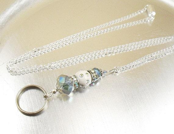 En céramique blanche, cristal arc en ciel et AB en cristal Swarovski perles ovale lien ou chaîne en cuir noir cordon ID longe, porte-Badge