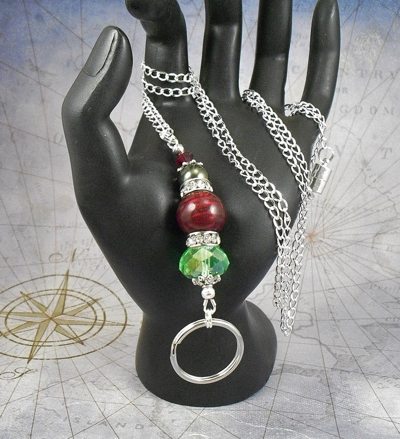 Badge Holder Christmas Spirit Red and Green Oval Link Chain OR Black Leather ID Lanyard Key Chain Necklace