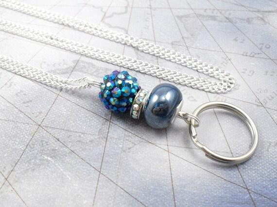 Perles de Style européen Aurora Borealis et céramique grand trou bleu cuir cordon ou chaîne ID longe, porte-Badge