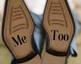 Me Too wedding shoe decal removable novelty sticker for bride and groom 2x5cm easy to apply