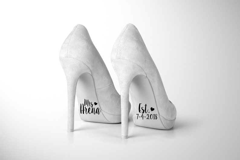 3389ffaf4757 Personalized Wedding Shoe Decals removable novelty sticker