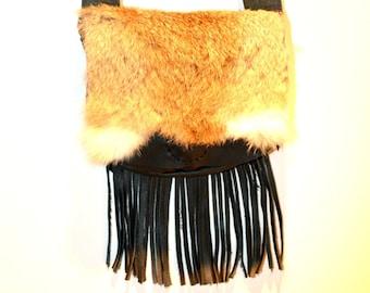 Leather Fringe Purse, Black Leather Purse, Boho Purse, Fur Purse, Native Purse, handmade purse, leather and fur bag, made in Canada