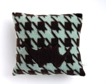 Clearance Sale Handcrafted Nap Time Pillow, Travel Pillow for Kids, 10 x 10 Teal and Brown Dinosaur Applique - IN STOCK and ready to ship
