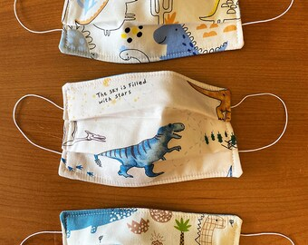 Clearance Sale  Three Cloth Face Masks for Kids, Dinosaur Print, 3 Layer Cotton Child Face Mask, Washable, Reusable In Stock FREE SHIPPING