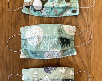 Clearance Sale  Three Cloth Face Masks Kids, Woodland Creatures Print, 3 Layer Cotton Face Mask, Washable, Reusable In Stock FREE SHIPPING